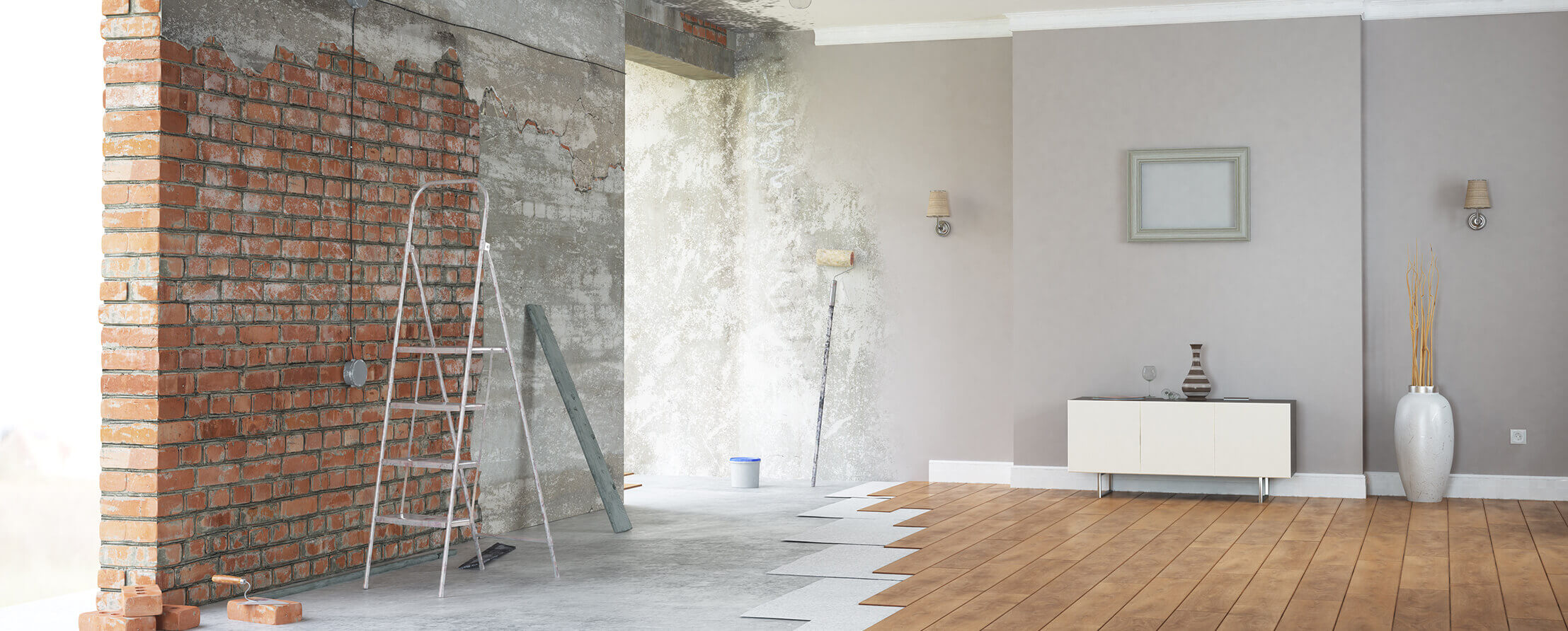 Interior living room of a home during a remodel